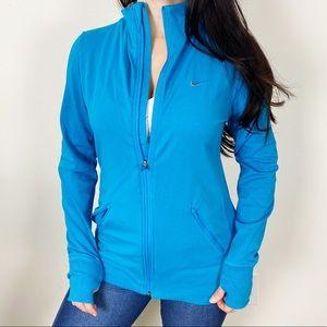 NIKE Blue ZIP Front Athletic Running Jacket Large